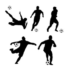 silhouette soccer players hitting the ball vector image