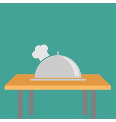 Silver platter cloche Chef hat on the table Flat vector image