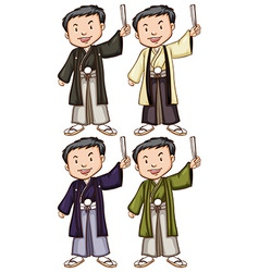 Simple sketches of men from Asia vector image