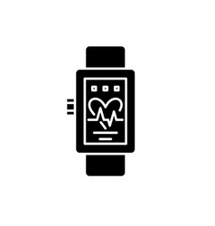 smart watches black icon sign on isolated vector image