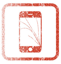 Smartphone screen cracks framed textured icon vector