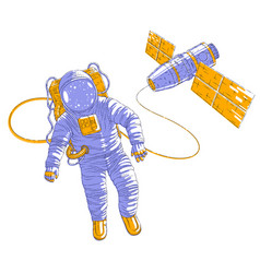 spaceman flying in open space connected to space vector image
