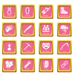 Speleology equipment icons set pink square vector