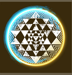 sri yantra glowing symbol vector image