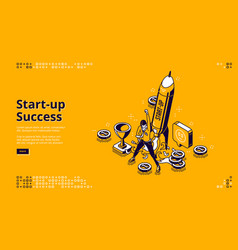startup success isometric landing page web banner vector image