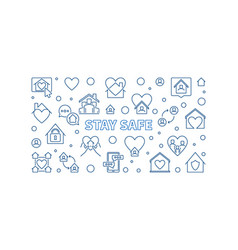 Stay safe outline banner horizontal vector