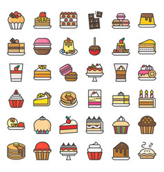 sweets and dessert icon set filled outline vector image