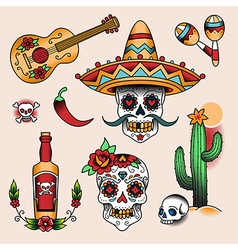 Tattoo set mexico vector
