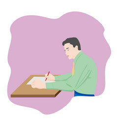 the man sitting at table and writing notes on vector image
