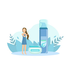 tiny young woman with huge cosmetic bottles spa vector image