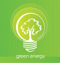 Tree inside light bulb vector image