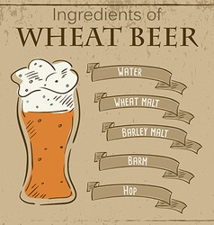 Vintage of card with recipe of wheat beer vector