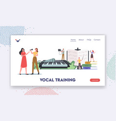 Vocal training landing page template characters vector