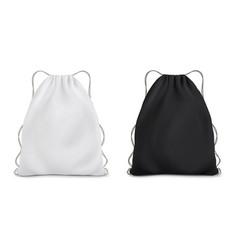 white black backpack bag on a rope sport bag vector image
