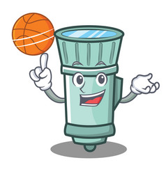 With basketball flashlight cartoon character style vector