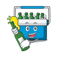 With beer freezer bag mascot cartoon vector