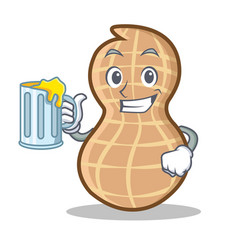 With juice peanut character cartoon style vector