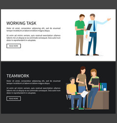 working task and teamwork set vector image