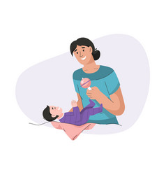 Young mother playing toy with her newborn baby vector