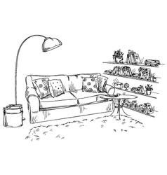 Comfortable sofa lamp and bookshelves vector image vector image