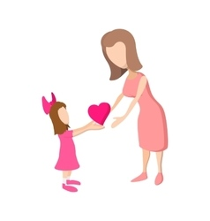 Girl giving a heart to her mother cartoon icon vector image vector image