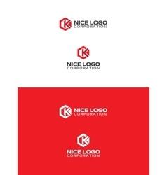 k hexagon logo vector image