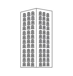 monochrome contour with apartment building vector image