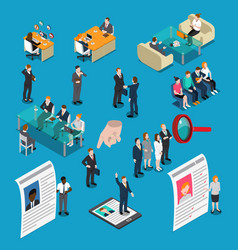 Recruitment hiring hr management isometric people vector