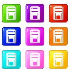 Square post box icons 9 set vector