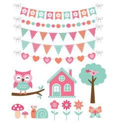 Summer decoration and design elements set vector
