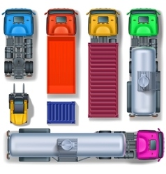 Trucks collection top view vector image