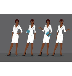 Woman doctor in various poses vector