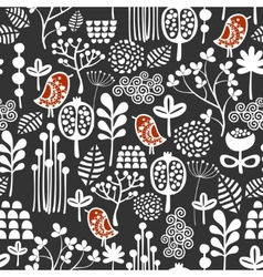Birds and flowers seamless pattern vector image vector image