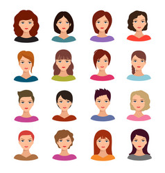 female portraits young woman heads with various vector image vector image