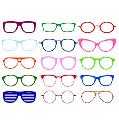 glasses colorful set summer vector image