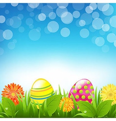 Green Border With Grass And Color Eggs And Bokeh vector image vector image