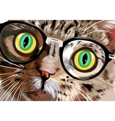 Hand drawn portrait of cat with glasses vector