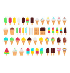 kinds of ice cream flat isolated on white vector image vector image