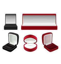 set of empty red and black velvet opened vector image