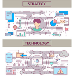 thin line flat design strategy and vector image