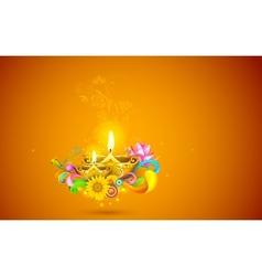 Burning Diwali Diya vector image vector image