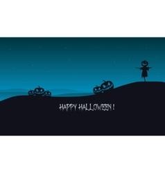 Halloween pumpkins and scarecrow silhouette vector image vector image
