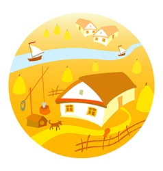 Rural landscape with vineyard and mountain panoram vector image