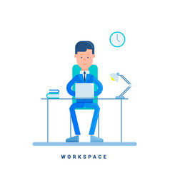 businessman working at his desk business concept vector image vector image