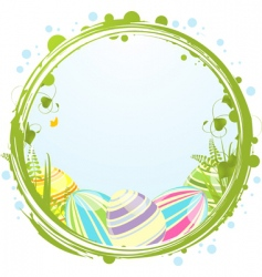 Easter eggs and border vector image