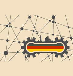 flag of the germany build in gear vector image vector image