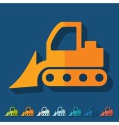 Flat design bulldozer vector image