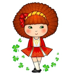 Irish dancing girl in red traditional dress vector image