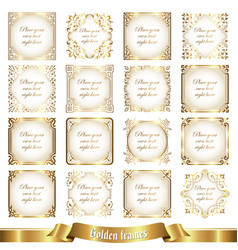 large collection of golden frames in vintage style vector image
