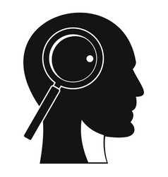 magnifying glass in head icon simple style vector image vector image